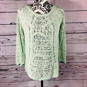 Lucky Brand Mint Green Pointelle Knit Sweater S